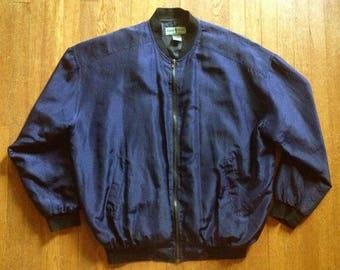 1980's Midnight Navy Silk Baseball Jacket Minimalist