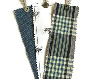 Blue and Grey Bookmark Set; Horse Bookmark Set; Fabric Bookmarks, set of three; Equestrian Father's Day Gift Ideas; Gifts for Horse Lovers