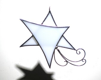 Shooting Star - Stained Glass Ornament - Stellar White Christmas Holiday Tree Decoration Handmade Suncatcher Wire Spirals (READY TO SHIP)