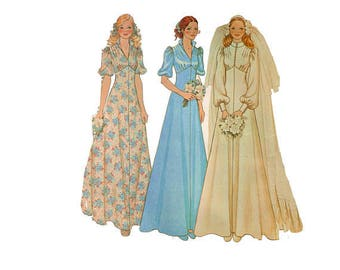 McCall's 4207 VTG 1970's Wedding Dress Pattern, (Size 8), Bride & Bridesmaid Dress, 1973 Dress Pattern, Long or Short Puffed Sleeves