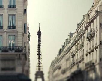Eiffel Tower Print, Beige, Brown, Mint, Neutral Wall Art, Paris Photography, Rustic, Architecture, Paris Print