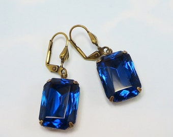 Capri Blue Earrings Sapphire Blue Earrings Vintage Glass Jewels Estate Style Hollywood Glamour