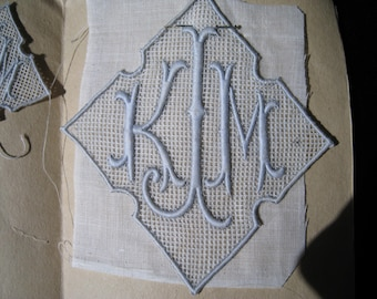 Vintage Sewing Monogram, Initials KMJ, with J as the last name, center initial