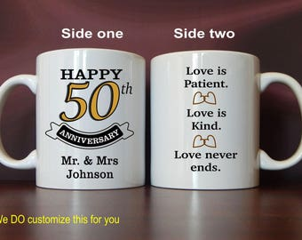 50th Anniversary Gift - Gifts for Anniversary - Personalized Mugs for 50 Years Golden Anniversary for Parents - Mom and Dad, MAC001