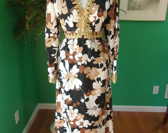 Vintage 1960's Bohemian Bold Flower Print Maxi Dress with Empire Waist Metallic Gold Ribbon Sequin sz 8