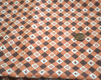"""1930's or 1940's Rust and Brown Flour/ Feed Sack Cotton Fabric 2 yards by 21"""" across - Perfect Condition"""