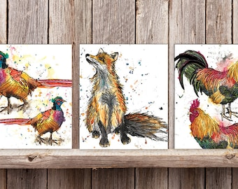 Set of 3 Wood Mounted Countryside Prints
