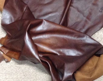 AB121. Dark Brown PullUp Leather Cowhide Partial