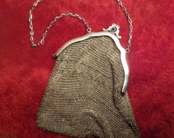 Silver chain mail evening bag