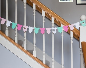 Baby onesie garland, baby shower banner, pinks, aqua, white