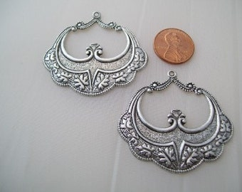 Chandelier Earrings jewelry finding hoops Vintage Victorian  Large hoop Earring silver findings