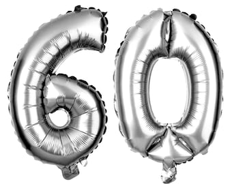 60 Number Balloons, 60th Birthday Party Balloons, 60 Balloon Numbers, 60 Party Supplies, 60th Birthday Decorations, Decor, 40 Inch Silver