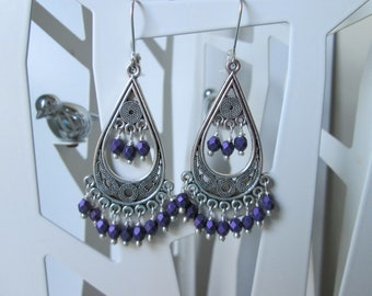 Beautiful silver and faceted purple bead chandelier earrings