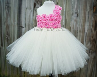 Shabby Chic Flower Girl Tutu Dress in Pink and Ivory