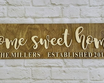 Home Sweet Home - Wooden Sign - Personalized Housewarming Gift - Custom Wedding Gift