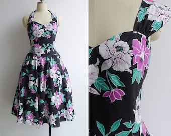 Vintage 80's Does 50's 'Royal Creations Hawaii' Tropical Pinup Swing Dress L or XL