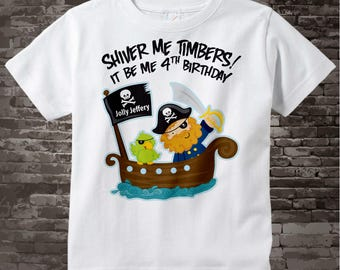 Fourth Birthday Pirate shirt - Pirate 4th birthday shirt - Gift for 4 year old boy - Pirate Theme party outfit - Birthday gift 12272016b