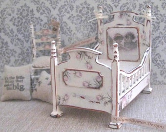1:12th Dolls House Shabby Chic Vintage Style Miniature Cot Bed In Antique White & Vintage Rose Floral Decor .