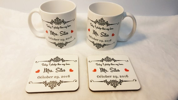 BRIDE and GROOM Coffee Set - Wedding Gift Set - Bride and Groom Gift Set - Coffee Mug Wedding Gift Set - Matching Mugs - Mug and Coaster Set