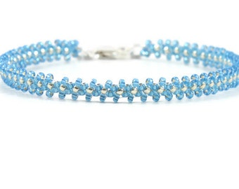 Layering Bracelet - Seed Bead Bracelet - Daisy Chain Bracelet - Beaded Jewelry- Beadwork Bracelet - Montana Blue