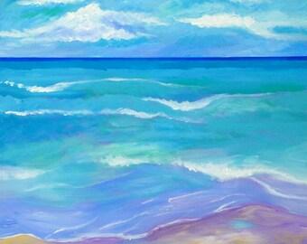 Solitude, 24x24, original art, ocean painting, ocean seascape, abstract beach painting, beach decor, large painting, abstract ocean art
