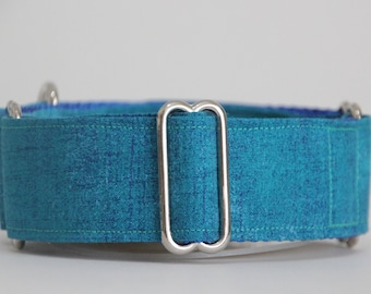 "Whippet Teal Blue 1.5"" Martingale Collar"