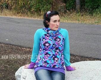 Women's Hoodie - lightweight hoodie - size 6/8 - purple aqua magenta