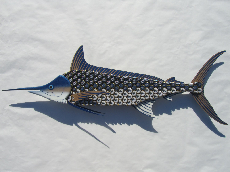 Metal fish wall art blue marlin fish bottlecap art for Fish wall art
