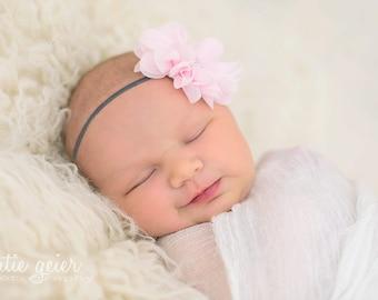 Pink Baby Headband Baby Bow Newborn Headband Baby Hairbow Hair Bow Pink Baby Bow Flower Headband Infant Headband Vintage Headband for Babies