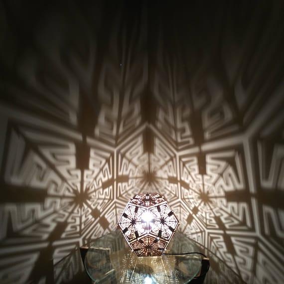 Dodecahedron desk shadow lamp geometric lighting wood lamp