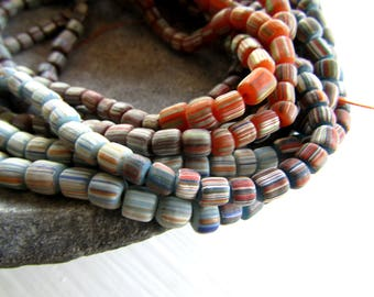 striped glass seed beads, 4 tones  multicolored  , matte  ethnic tube barrel, New Indo-pacific 3 to 6mm (21 inches strd) 7AB21-1