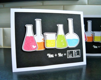 Nerdy I Love You Card, Science Anniversary Card, Geeky Valentine, Rainbow, Chemistry Card, You + Me = Love, Periodic Table