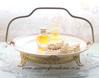 BRIDE'S BASKET, Victorian, Mid Century, Footed Bride's Basket Tier w/Ceramic Plate by Graham Rice China Company, Vintage Wedding Table Decor