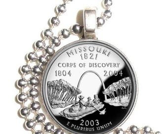 Missouri Art Pendant, Earrings and/or Keychain, USA Quarter Dollar Image, Round Photo Silver and Resin Charm Jewelry