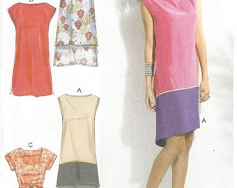 OOP McCalls Sewing Pattern M6551 Womens Summer Shift Dress with Variations Size 4 6 8 10 12 14 Bust 29 1/2 to 36 FF Sewing Patterns