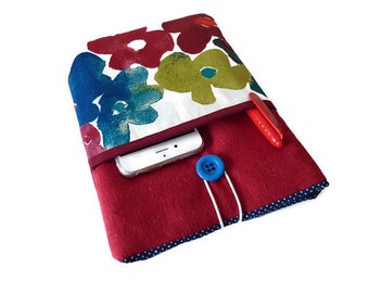 Kindle paperwhite sleeve, Kindle paperwhite case, kindle voyage case, NOOK GlowLight Plus, Kobo Touch purse, Kobo Glo HD case - floral