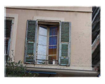 Romantic Window Shutters in Quaint Historic City of Nice, France - Painting with computer from Original Fine Art Photography