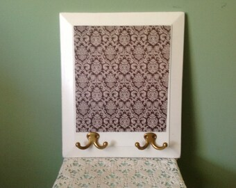 Decoupaged Wall Decor with Two Double Hooks
