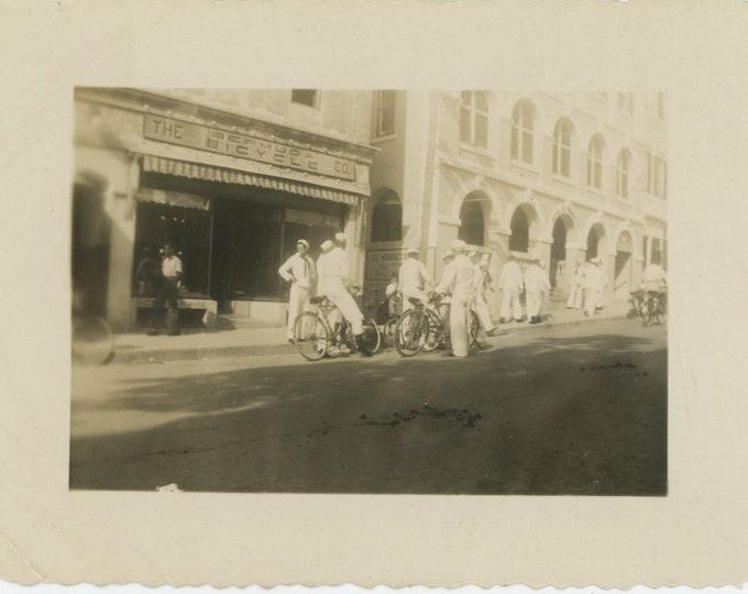 Vintage Snapshot Photo: Sailors at the Bermuda Bicycle Co., c1940s [86688]