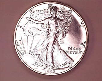 1990 Silver Eagle US Dollar,  Brilliant Uncirculated Coin, One Ounce Pure Silver