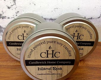 Island Spa Scented Soy Candle - Natural Soy Wax - Candle Tin - Hand Poured - Made in Australia