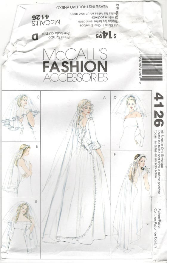 McCall\'s 4126 McCalls All sizes, Women\'s wedding veil sewing pattern ...