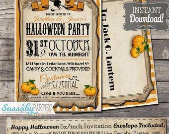 Happy Halloween Party Invitation - INSTANT DOWNLOAD - Editable & Printable Pumpkin, Scary Invitation by Sassaby Parties