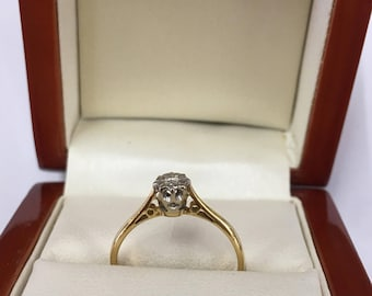 Vintage 18ct Yellow Gold Diamond Solitaire Engagement Ring Size N