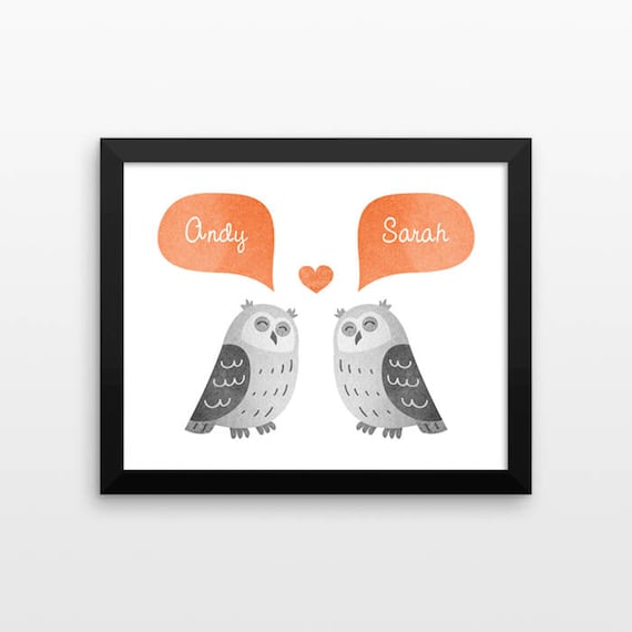 OWL Couple Personalized Art Print, Paper 1st Anniversary Gift, Engagement, Wedding Gift, Valentine Gift, Couple Gift, Animal Couple Wall Art