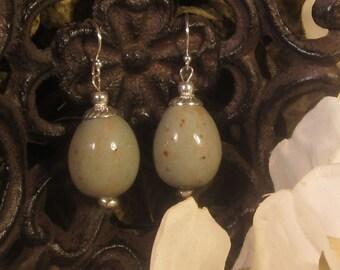 Memorial Bead Earrings - Custom Keepsake Stoneware Pottery Pet Cremains Jewelry - Egg - Earrings
