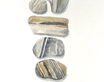 Original River Rocks Watercolor Painting