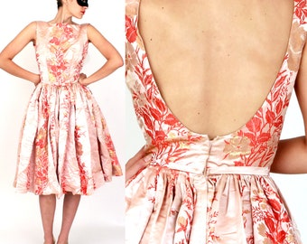 Vintage 1950's Pink Satin Party Dress in a Gold and Coral Floral Brocade with Sexy Scoop Back and Full Skirt by Maxwell Shieff | XS/Small