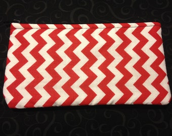 Red and White Chevron Pencil Case / Zipper Pouch, Coin Purse, Wristlet, or Cosmetic Bag #7