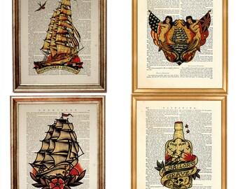Set of 4 Prints Sailor Jerry Art Print on Vintage Dictionary Book Page, Sailor Jerry Tattoo Antique Book. Homeward Bound Ship Artwork Poster
